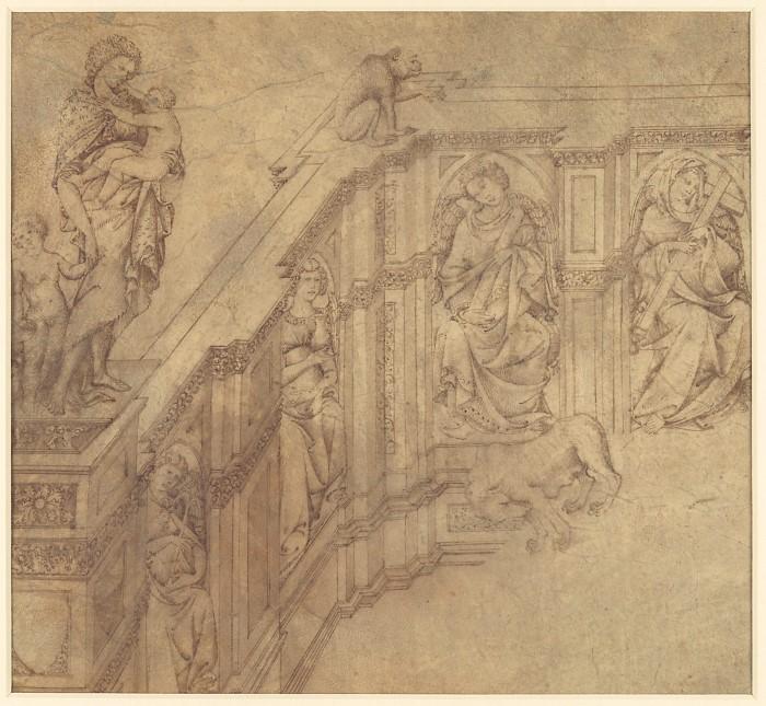 Фрагмент дизайна для левой стороны 'Fonte Gaia' в Сиене