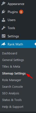 sitemaps settings