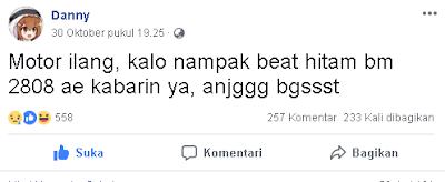 Status Danny di Facebook