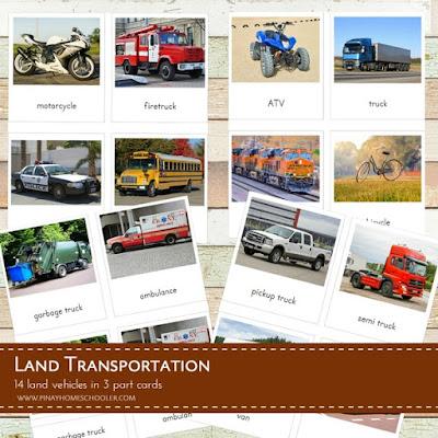 Land Transportation 3 Part Cards