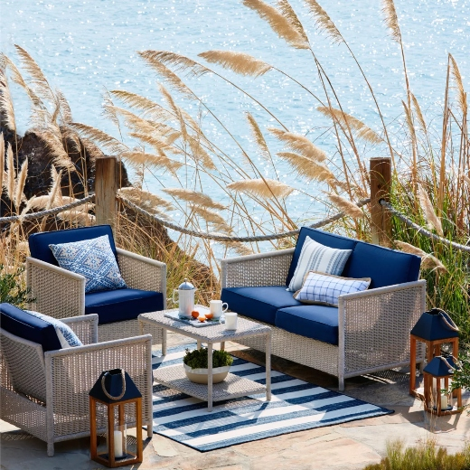 Navy Blue Outdoor Wicker Lounge Furniture Set