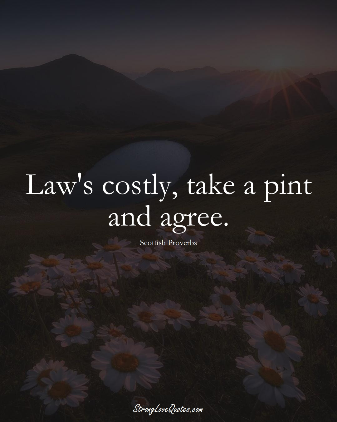 Law's costly, take a pint and agree. (Scottish Sayings);  #EuropeanSayings