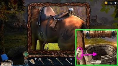 на лошади прикрепляем веревку и крюк в колодец в игре затерянные земли 3