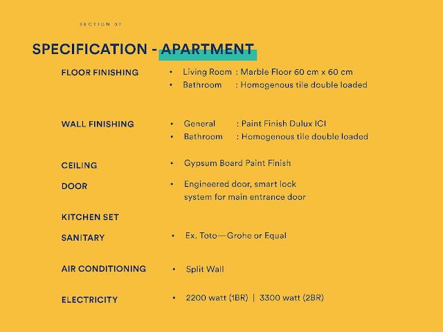 Spesifikasi Bangunan Apartemen Upper West BSD City
