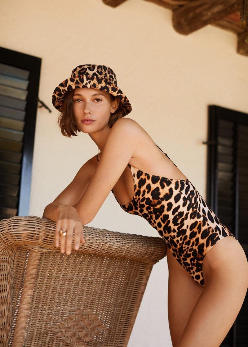 Mali Koopman models Mango leopard print swimsuit