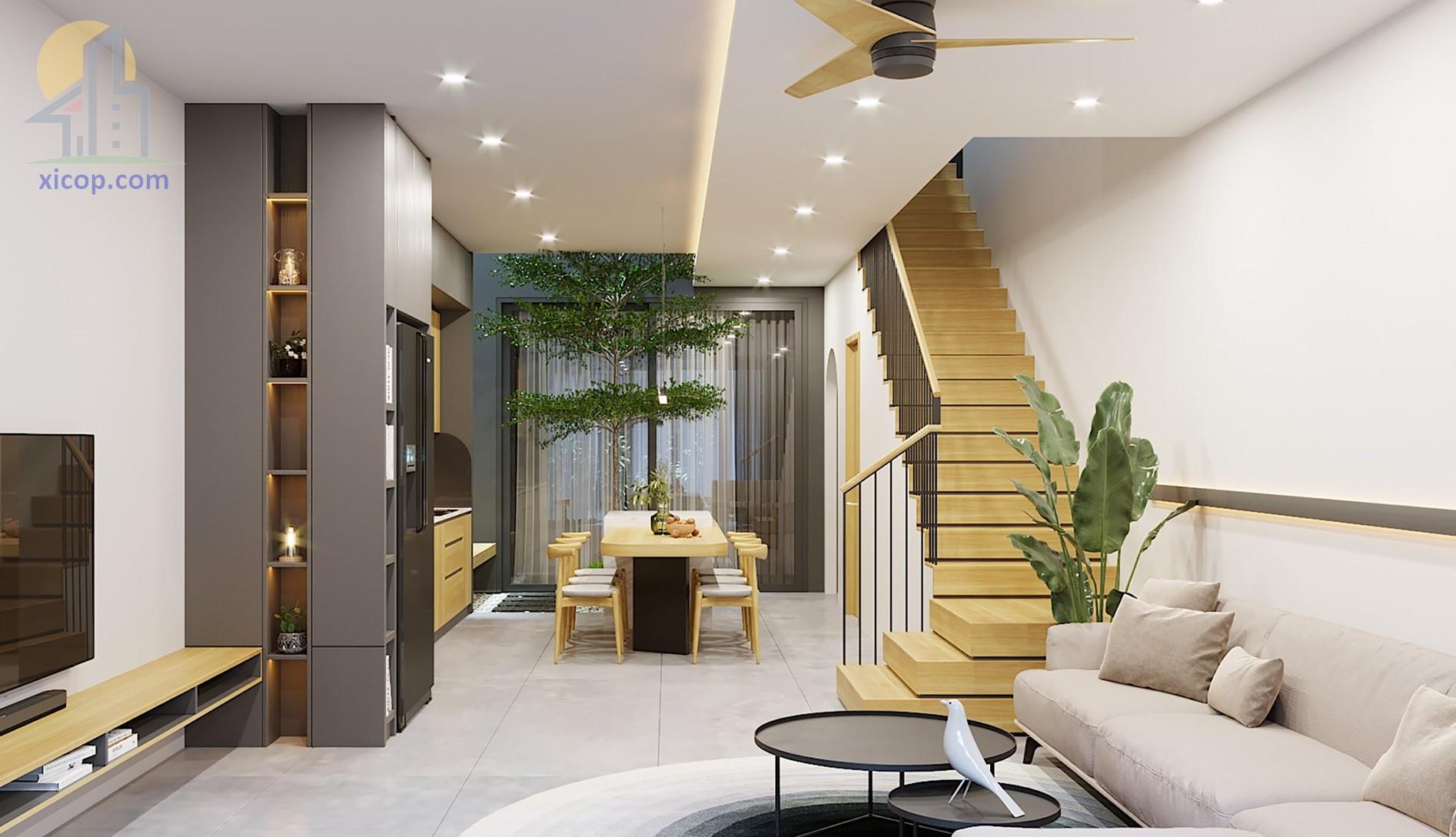 Nhà phố 2 tầng 1 tum đẹp mẫu thiết kế hiện đại