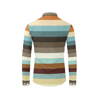 Gomagear Trim Colorful Stripes Long Sleeve Shirt