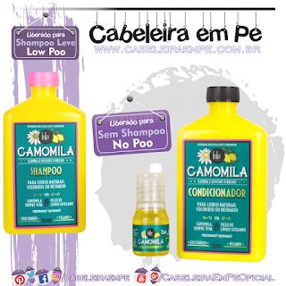 Shampoo (Low Poo), Condicionador (No Poo com silicones) e Óleo Iluminador (No Poo sem silicones)Camomila - Lola Cosmetics