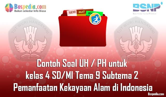 Contoh Soal UH / PH untuk kelas 4 SD/MI Tema 9 Subtema 2 Pemanfaatan Kekayaan Alam di Indonesia