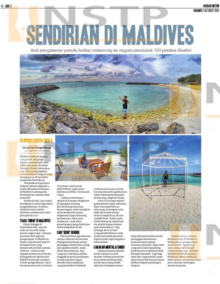 Featuring in Harian Metro Newspaper 6th October 2016
