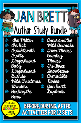 Jan Brett's books are perfect for the winter months. Check out this post to learn more about this author study and the other great winter readers I recommend.