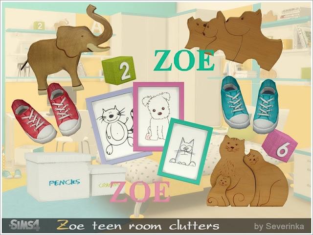 Zoe teen room clutters Комплект декора для 'Zoe teen room' В набор входит 8 предметов: - куб с числами - декор кроссовок - изображение стола - декор из дерева слона - декор для кошек - деревянный декор для собак - декоративные коробки - буквы ZOE Автор:Severinka_