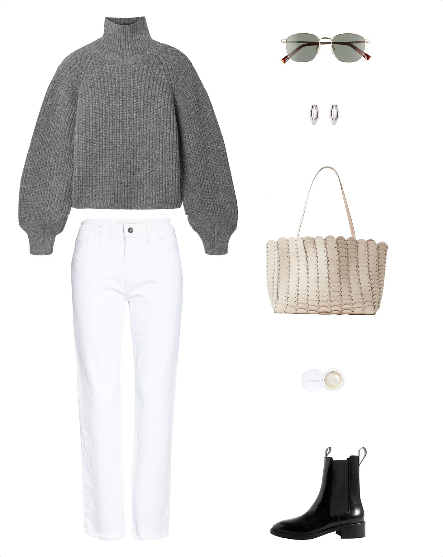White Jeans Look — Winter to Spring Transitional Outfit — Chunky Gray Turtleneck Sweater, Round Sunglasses, Paco Rabanne Tote Bag, RMS Lunimizer, White Denim, and Black Chelsea Boots
