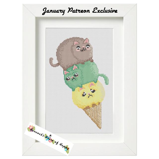 Kawaii Cat Ice Cream Cone Cross Stitch Pattern
