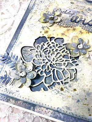 Sara Emily Barker https://sarascloset1.blogspot.com/ Mixed Media Birthday Card Tim Holtz Cutout Blossoms 3