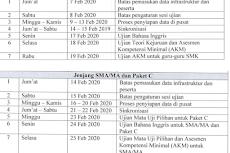Jadwal SIMULASI UNBK SMP/MTS SMA/MA SMK/MAK Tahun 2020