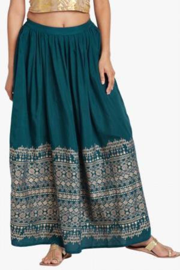 Teal Floral Printed Skirt