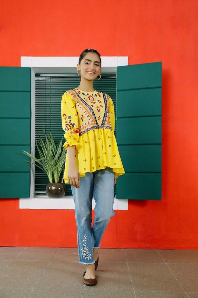 Ethnic Yellow Jacquard Shirt