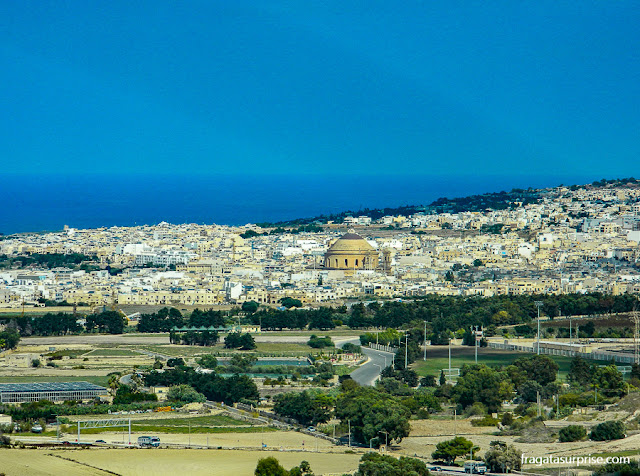 Rotunda de Mosta vista das muralhas de Mdina, Malta