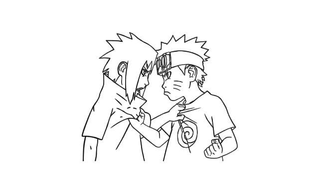 dibujos faciles de naruto y sasuke como niños chicos peleando