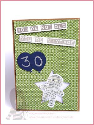 Stampin' Up! rosa Mädchen Kulmbach: Geburtstagskarte mit Cookie Cutter Halloween, Labeler Alphabet und Luftballon