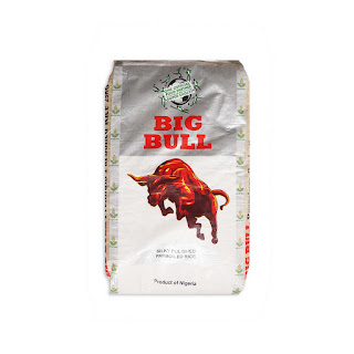 Big Bull Premium Parboiled Rice 25kg on a white background