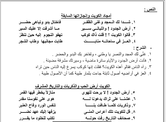 مذكرة المختصر المفيد لغة عربية أرض الجدود للصف العاشر