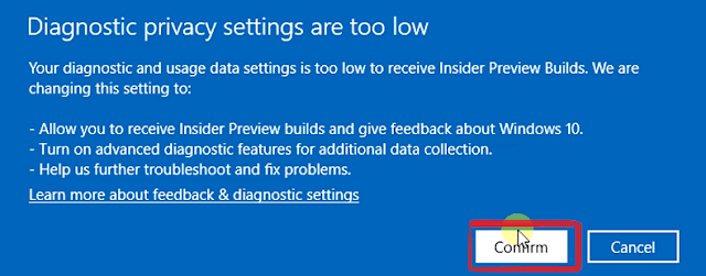 windows insider programme confirm privacy