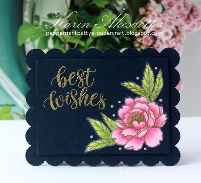 Sunny Studio Stamps: Pink Peonies Frilly Frame Dies Best Wishes Card by Karin Akesdotter