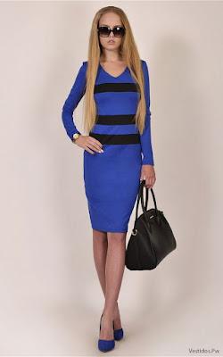 vestidos azul con negro