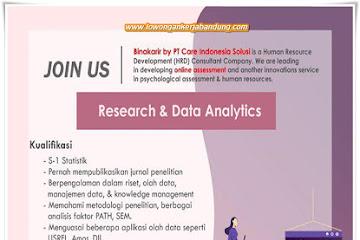 Lowongan Kerja Research & Data Analytics PT. Care Indonesia Solusi