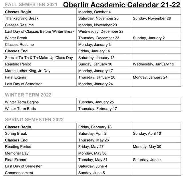 Oberlin Academic Calendar 2021-22