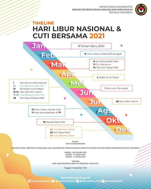 Infografis Libur dan Cuti Bersama Tahun 2021