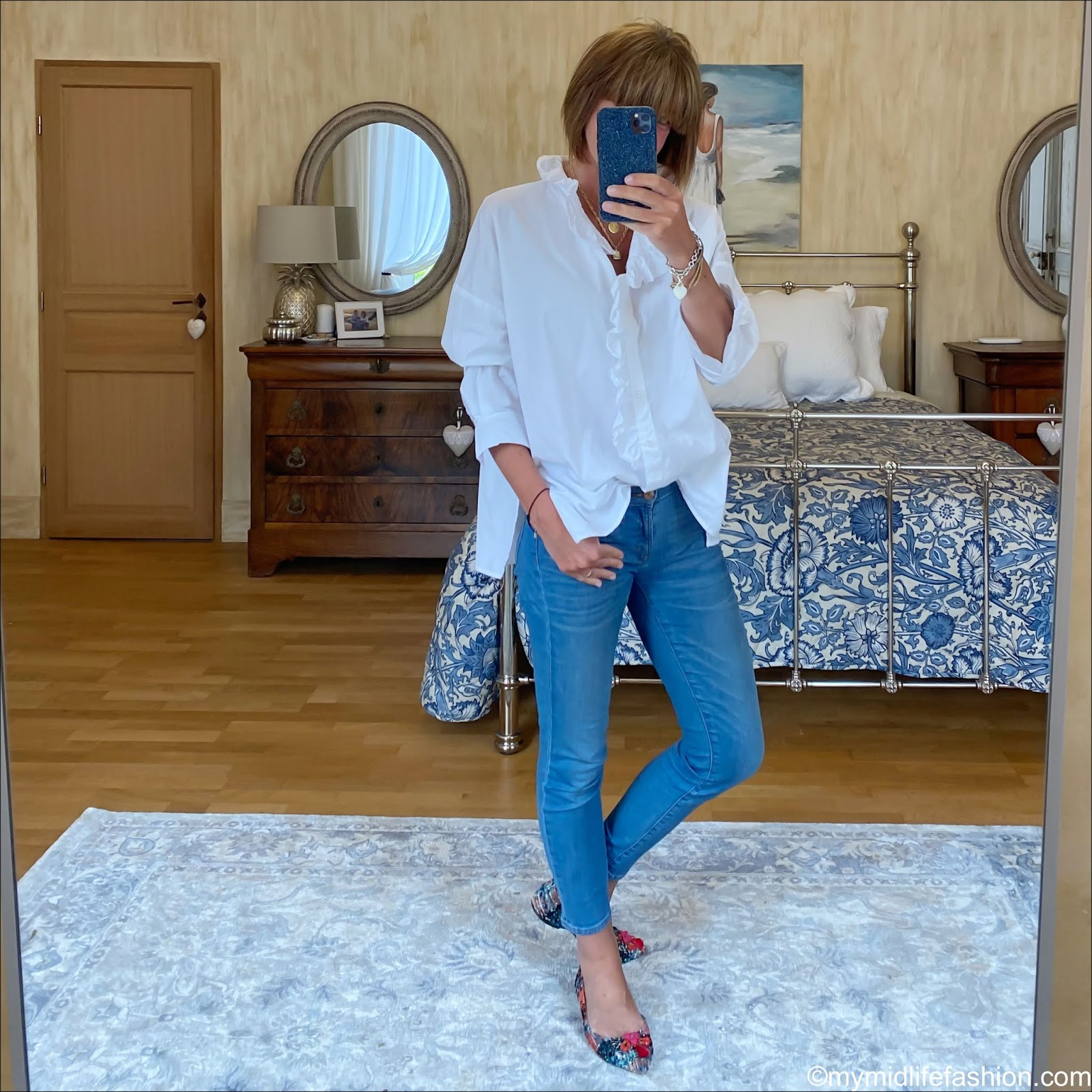 zara oversized frill blouse, j crew 8 inch toothpick skinny cropped jeans, j crew tweed tassel pointed flats