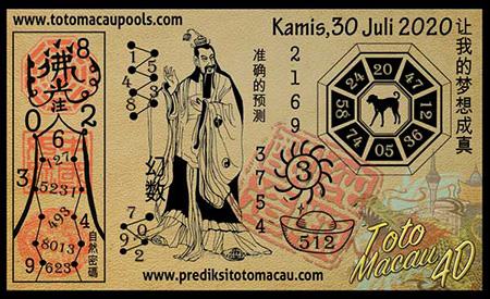 Prediksi Toto Macau Pools Kamis 30 Juli 2020