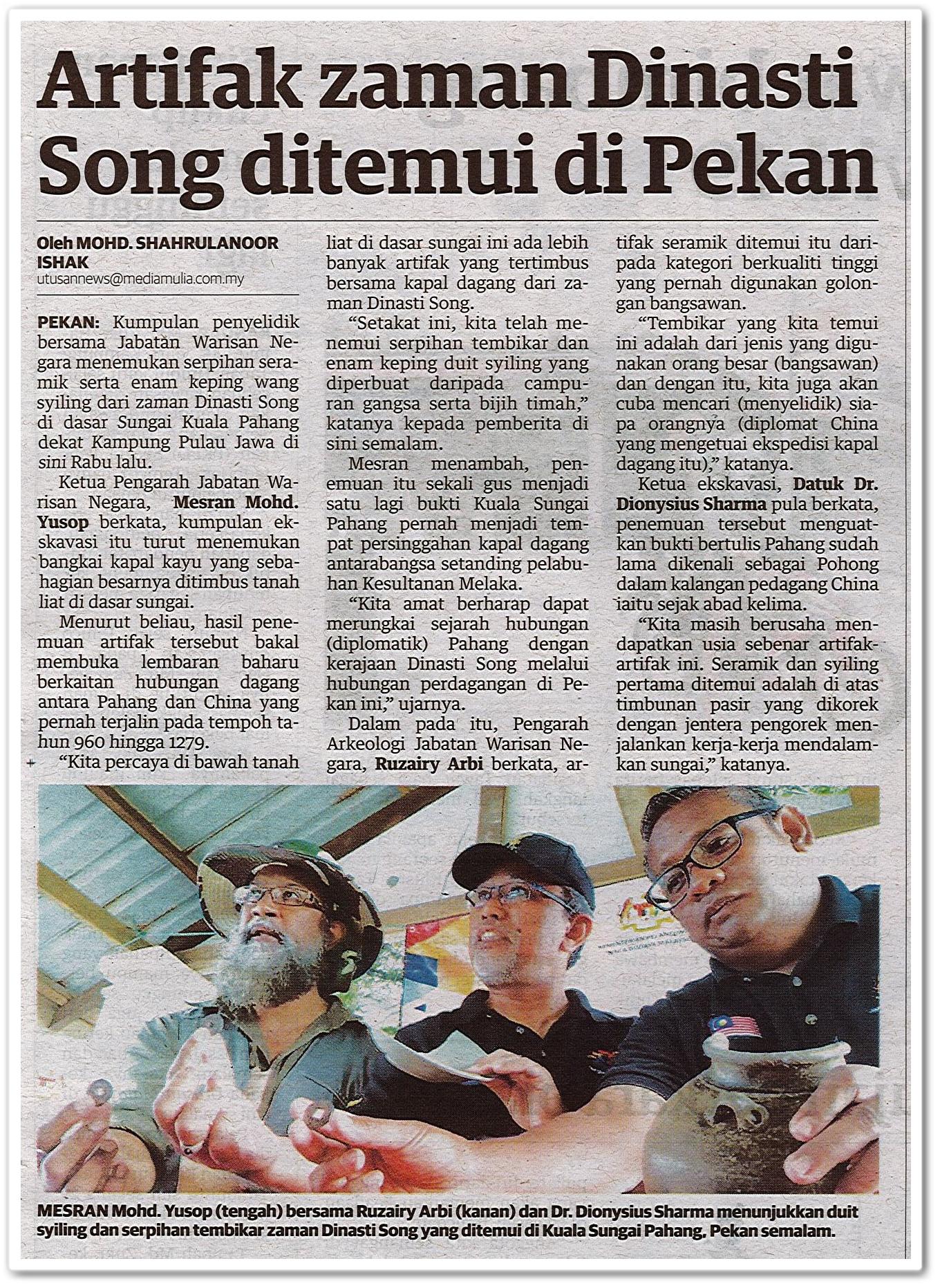 Artifak zaman Dinasti Song ditemui di Pekan - Keratan akhbar Utusan Malaysia 15 Ogos 2020