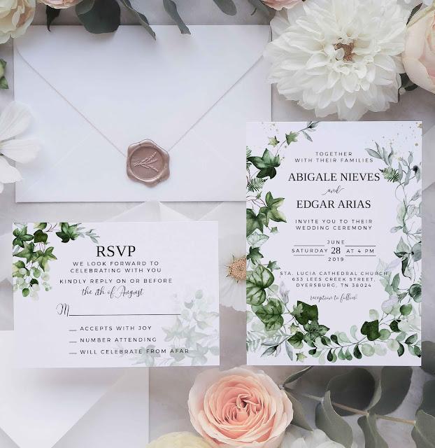 ivy greenery wedding invitation suite