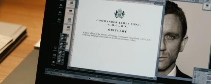 frame of James Bond dossier on laptop from 'Skyfall'