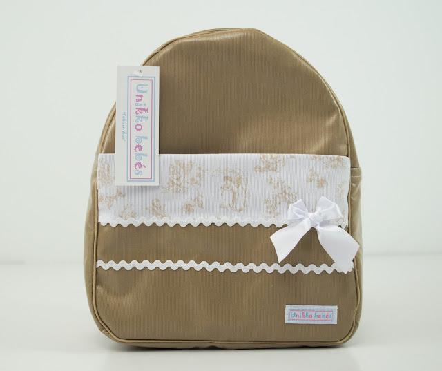 mochila colegio toile de jouy camel