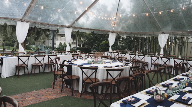 tent wedding reception with country chairs