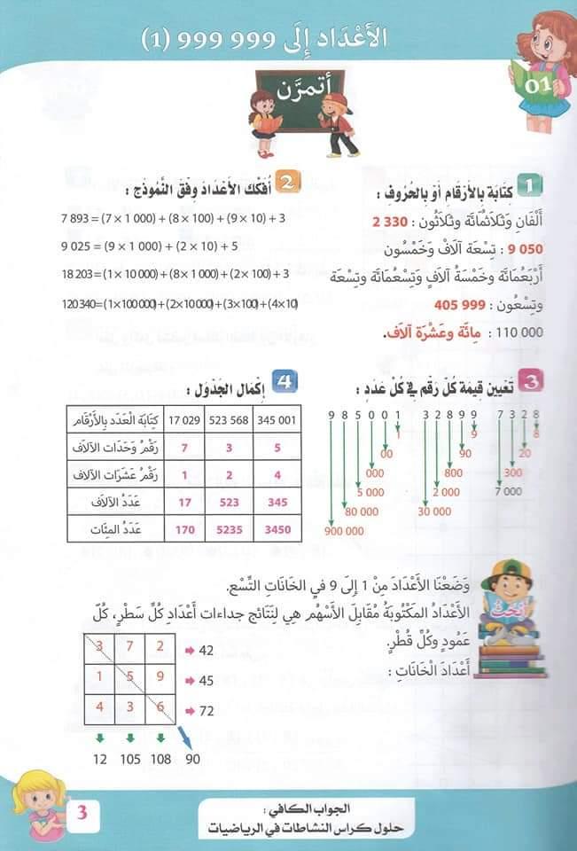 حلول تمارين كتاب أنشطة الرياضيات صفحة 8 للسنة الخامسة ابتدائي - الجيل الثاني