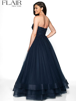 Strapless A line Tulle Flair Prom Navy Dress back side