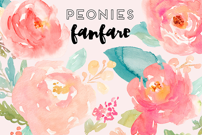 Peonies Fanfare- Watercolor Clip Art par Angie Makes