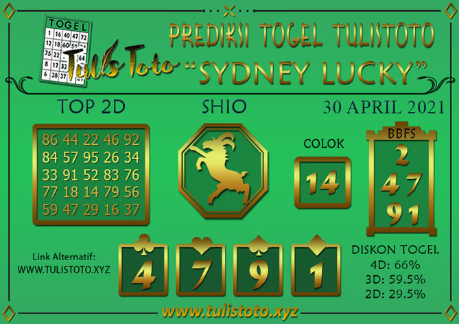 Prediksi Togel SYDNEY LUCKY TODAY TULISTOTO 30 APRIL 2021