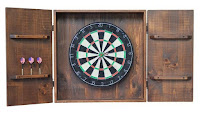 Rustic Wood & Iron Handcrafted Dart Board Wall Cabinet