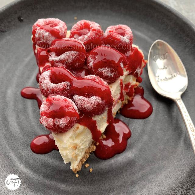 Cheesecake framboise basilic