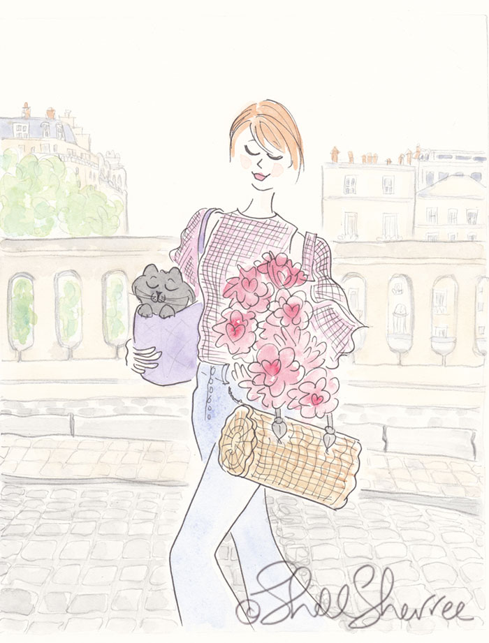 Paris Pink Gingham Cat Fashion illustration  © Shell Sherree all rights reserved
