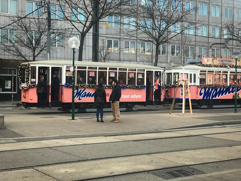 vienna tram pink, manner tram