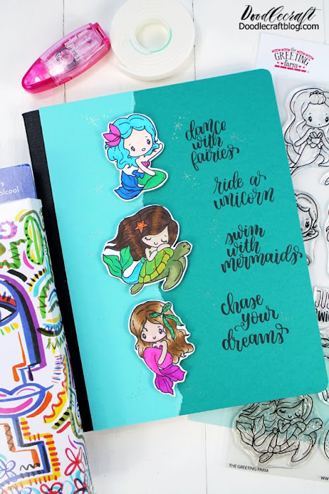 I love making altered notebooks. They are a fun way to set apart a boring old composition book in the back-to-school section. Make decorative altered notebooks using rubber stamps from The Greeting Farm.