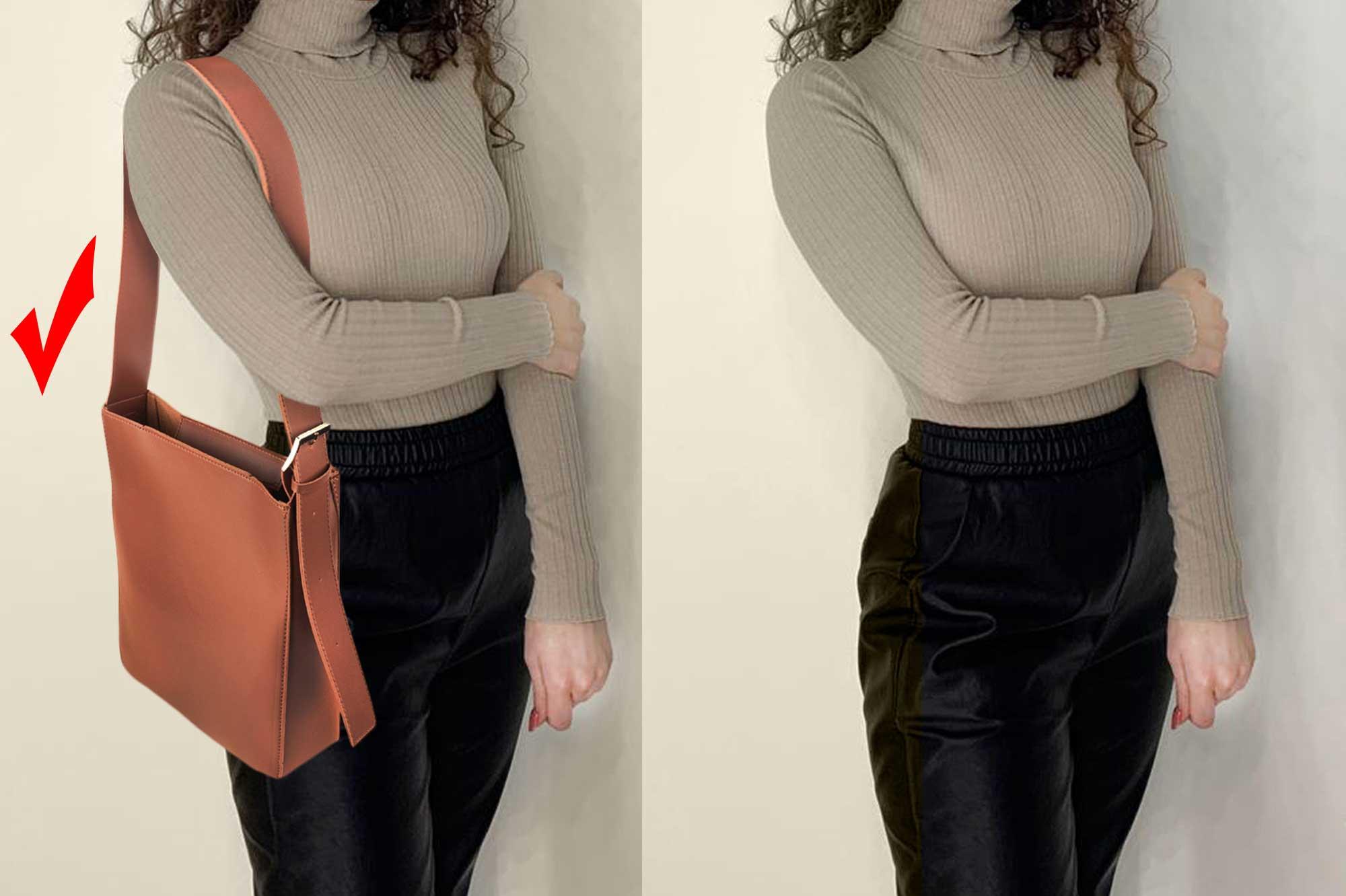 девушка с сумкой на плече